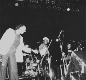 Dave Liebman, Miles and Mike Stern, 1981. Photo by Julie Coryell