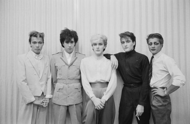 The Oil On Canvas line-up, December 1982: Masami Tsuchiya, Richard Barbieri, David Sylvian, Steve Jansen, Mick Karn. (Photo by Fin Costello/Redferns)